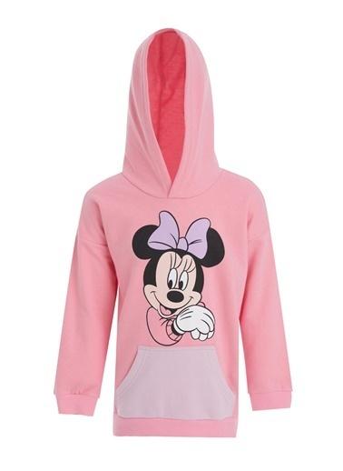 DeFacto Kız Çocuk Minnie Mouse Lisanslı Kapüşonlu Sweatshirt Pembe